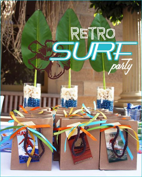 Hudsons 2nd birthday. Retro surf partySurf Theme, Brown Paper Bags, Retrosurferparty 1, Surfers Birthday Parties, Retro Surfers, Parties Ideas, Pools Parties, Surfers Parties, Parties Time