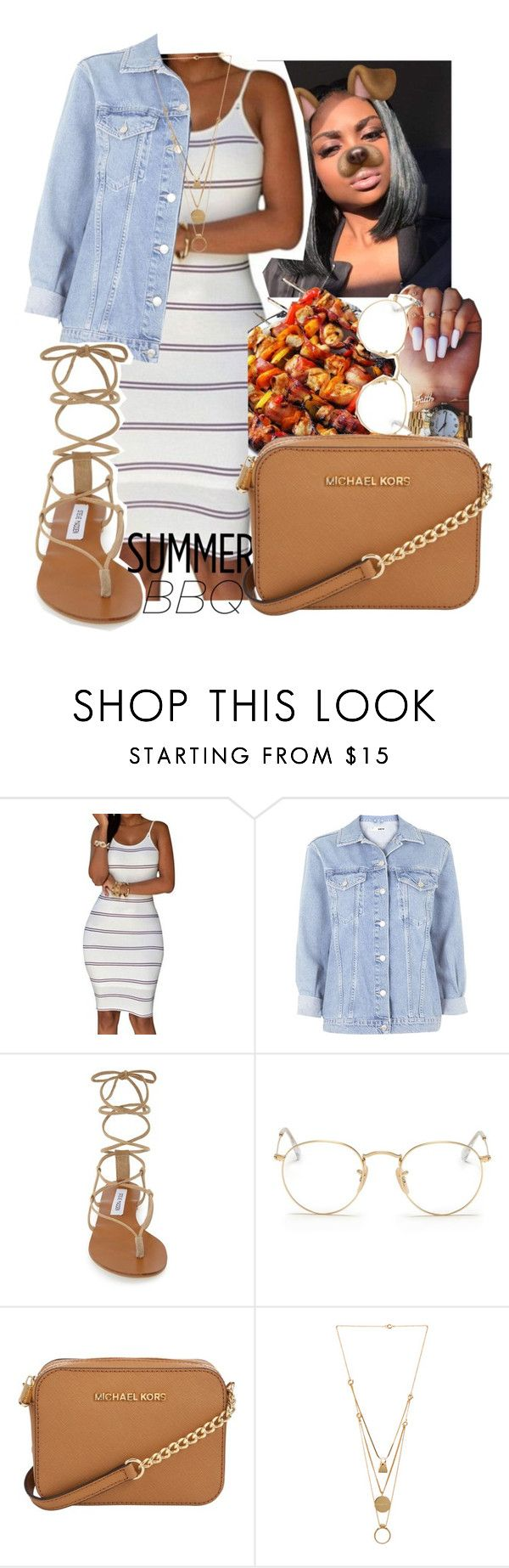 """""""Cookout"""" by darkskinn-awa ❤ liked on Polyvore featuring Topshop, Steve Madden, Ray-Ban, Michael Kors and Maison Margiela"""