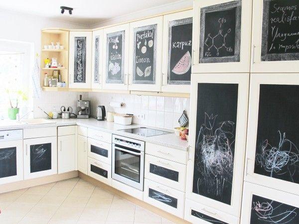 Ich zeige Euch hier eine tolle Idee für die Küche: Ausführlich erklärt, wie einfach man das selber machen kann, Küchenfronten mit Tafelfolie bekleben!