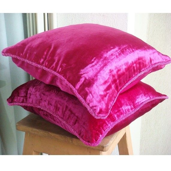 Fuchsia Love - Throw Pillow Covers - 16x16 Inch Velvet Pillow Cover in Fuchsia Pink with handmade beaded border