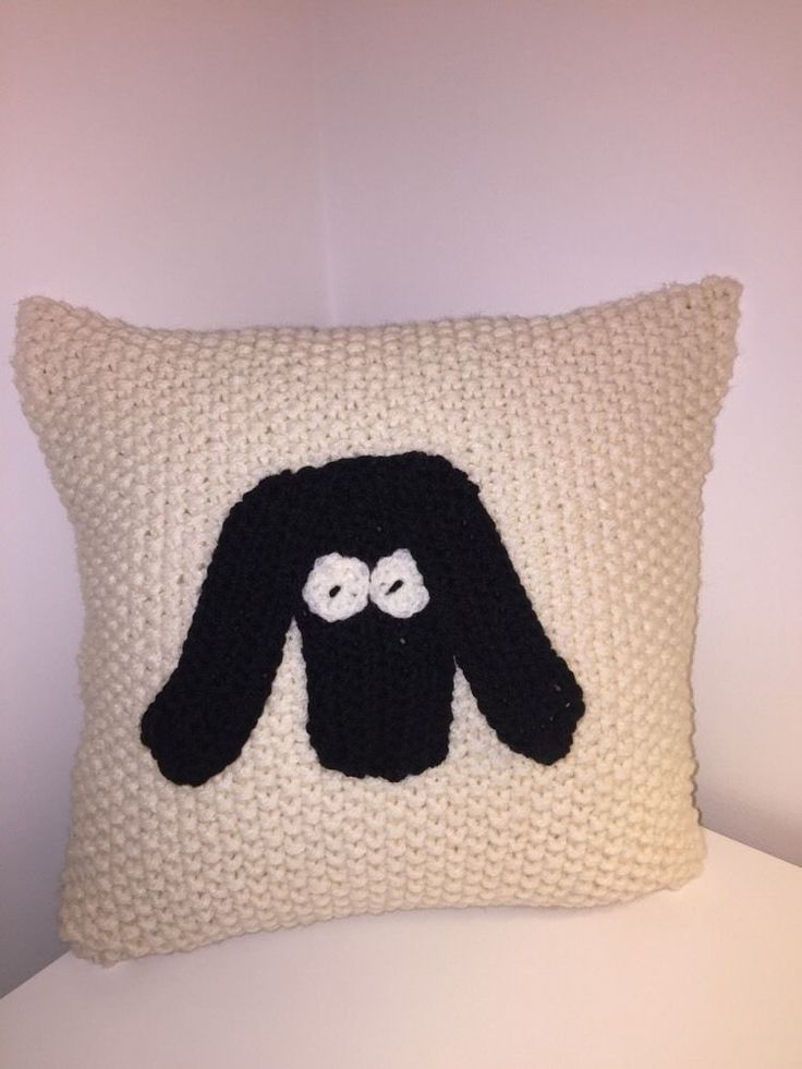 SHEEP CUSHION,BEAUTIFULLY HAND KNITTED AND CROCHET IN CREAM..