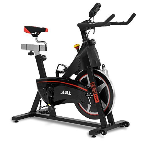 JLL IC300 PRO Indoor Cycling Exercise Bike, Direct Belt Driven 20kg Flywheel with Adjustable Magnetic Resistance, 3-Piece Crank, 6-Function Monitor, Emergency Stop System, Ergonomic Handlebars with Heart Rate Sensors, Fully Adjustable Seat, Built In Wheel