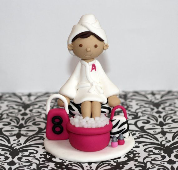 Personalized / Custom Zebra Print Spa Birthday Party Cake Topper with Accessories - Manicure Pedicure on Etsy, $37.00