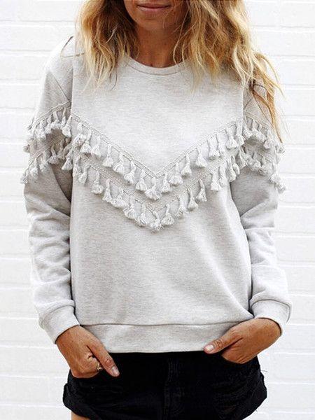 Gray Tassel Embellished Long Sleeve Sweatshirt