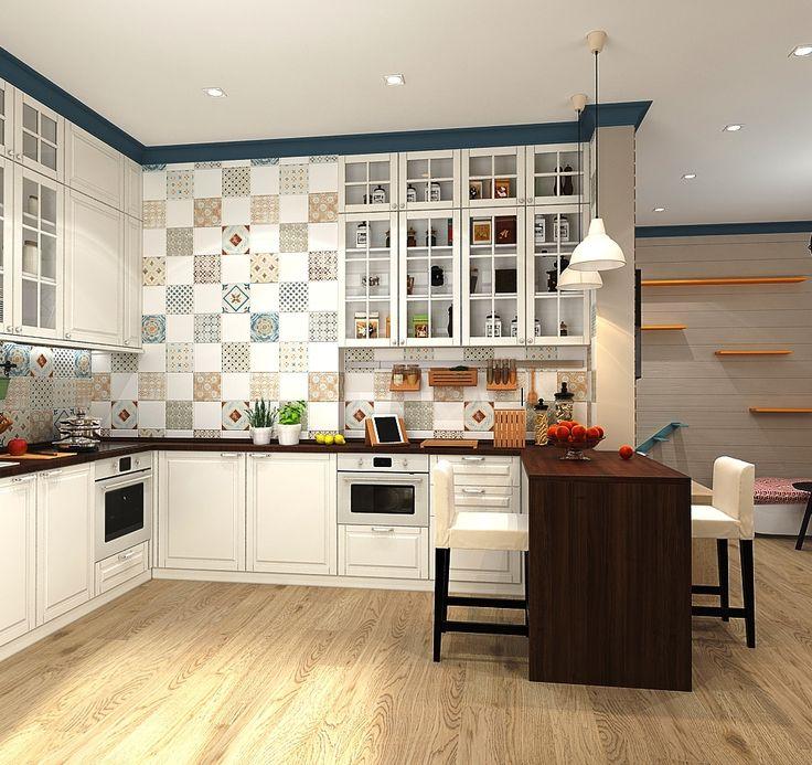 Кухня с барной стойкой, ракурс 2