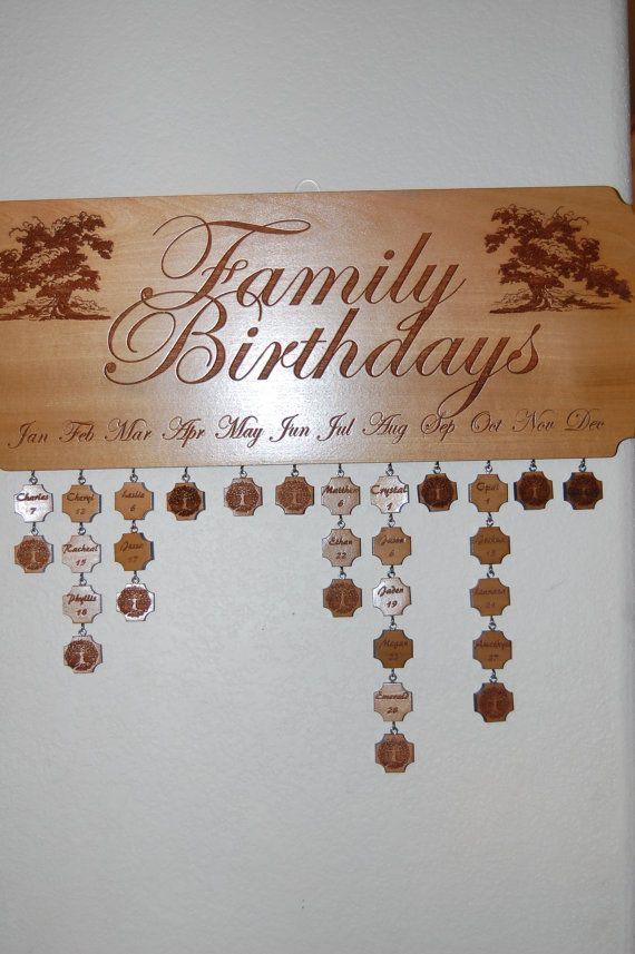 Family Birthdays Plaque by RavenWoodGripsLLC on Etsy