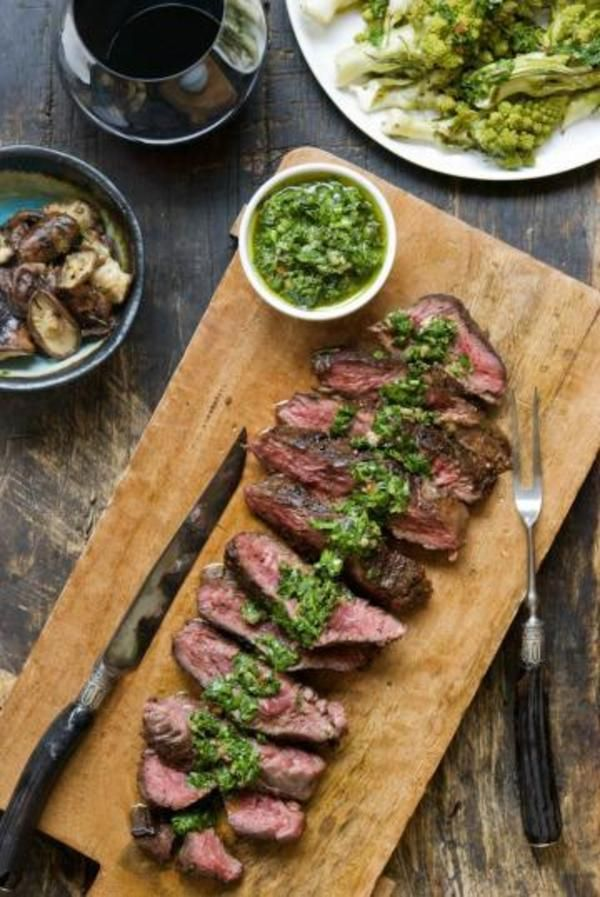 Herb-rich Italian salsa verde with a little kick is a perfect topping for a tender, juicy hanger steak.