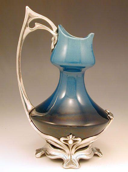 Art Nouveau polished pewter and ceramic jug, Germany 1905