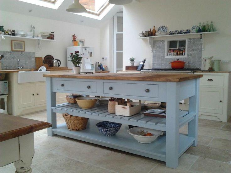 Rustic Painted 4 Drawer Kitchen Island Unit. Freestanding Kitchen Furniture.