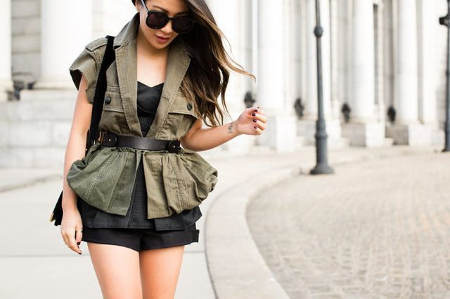 Spring Peplum :: Field jacket & Lace-up pumps