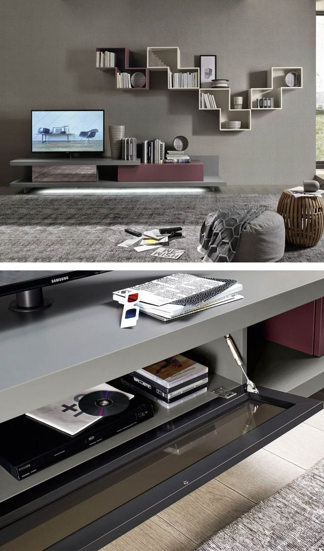 114 best u003eu003e TV Wohnwände u003cu003c images on Pinterest Beams, Beautiful - moderner wohnzimmerschrank mit glastüren und led beleuchtung