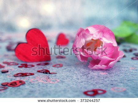 Pink tulips and red hearts, festive lights. - stock photo