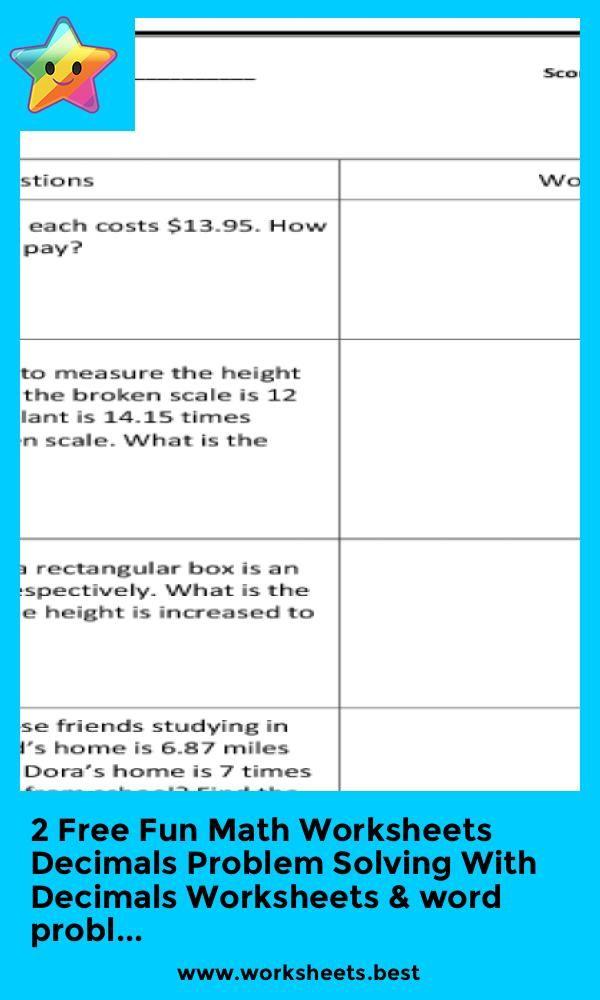 2 Free Fun Math Worksheets Decimals Problem Solving With Decimals Worksheets Word Probl Fun Math Worksheets Math Worksheets Fun Math