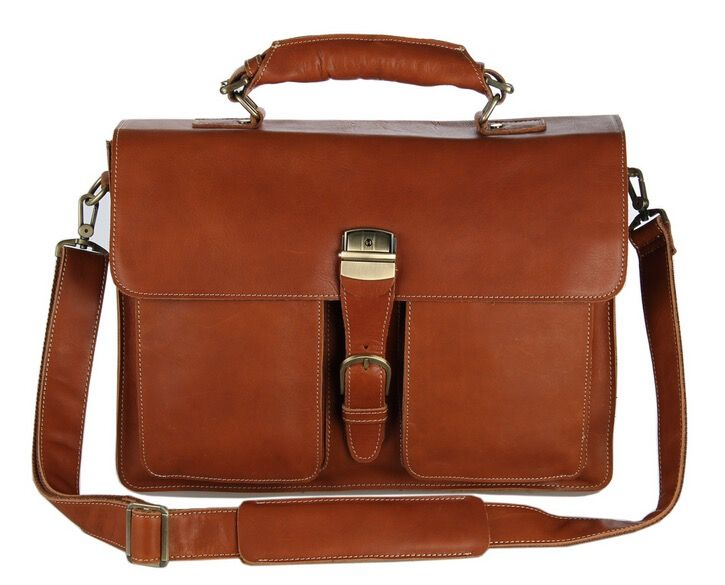 Image of New Coffee Genuine Leather Business Briefcase Messenger Tote and Laptop Bag (Z151)