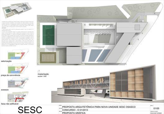 Vencedor do Concurso para a unidade SESC Osasco / Grifo Arquitetura,Prancha 1/5. Image Courtesy of Grifo Arquitetura