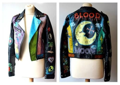 Painted Leather Jacket - Hazeface #diy #hazeface #bloodmoon #paintedleatherjacket #paintedleather #paintedjacket #leatherjacket #moon #moonjacket #alien #studded #customizedleatherjacket #leatherpaint