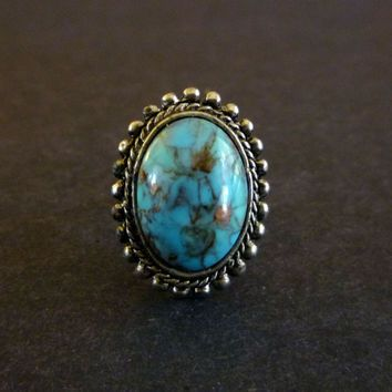 Vintage Faux Turquoise Southwestern Cocktail Ring