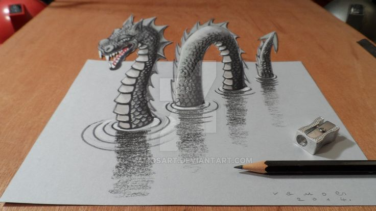 3D, Optical Illusions and Anamorphic Drawings  //  10-Loch Ness Monster-Sandor-Vamos-3D-Optical-Illusions-Anamorphic-Drawings-Videos-www-designstack-co