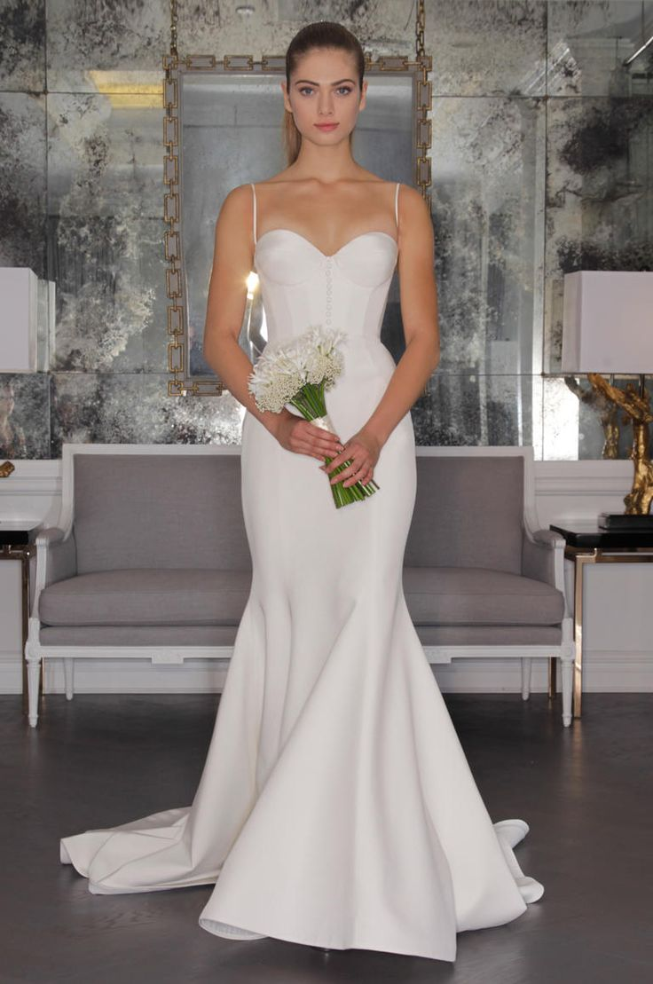 Romona Keveza 2016 wedding dress with spaghetti straps and corset bodice, a line simple skirt | https://www.theknot.com/content/romona-keveza-wedding-dresses-bridal-fashion-week-2016