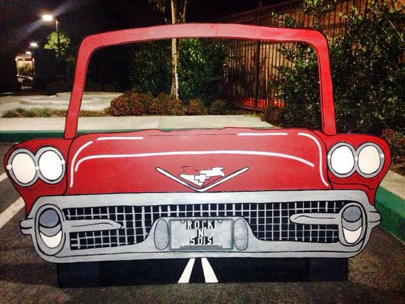Rock N 50's, diner , classic 50's convertable car. Photo prop, standee, wood cut out