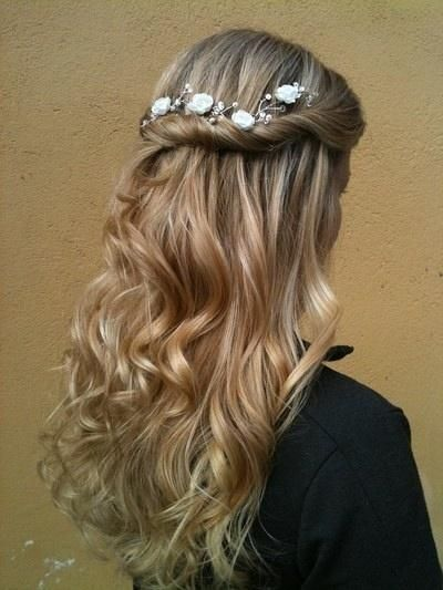Half Up with Flowers - Hairstyles and Beauty Tips.  Doing this hair - except with giant obnoxious flowers