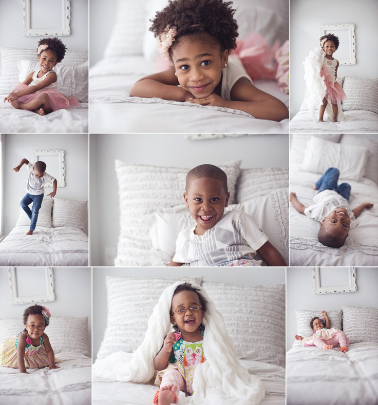 great storyboard, awesome images, adorable kids and love the all white  bedroom!