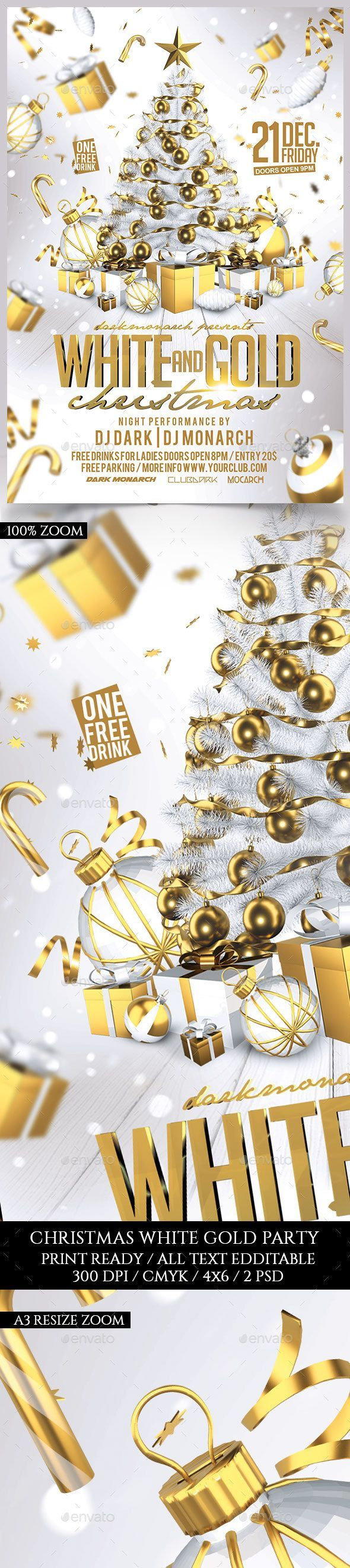 White and Gold Christmas Party — Photoshop PSD #elegant #print • Available here → https://graphicriver.net/item/white-and-gold-christmas-party/18734157?ref=pxcr