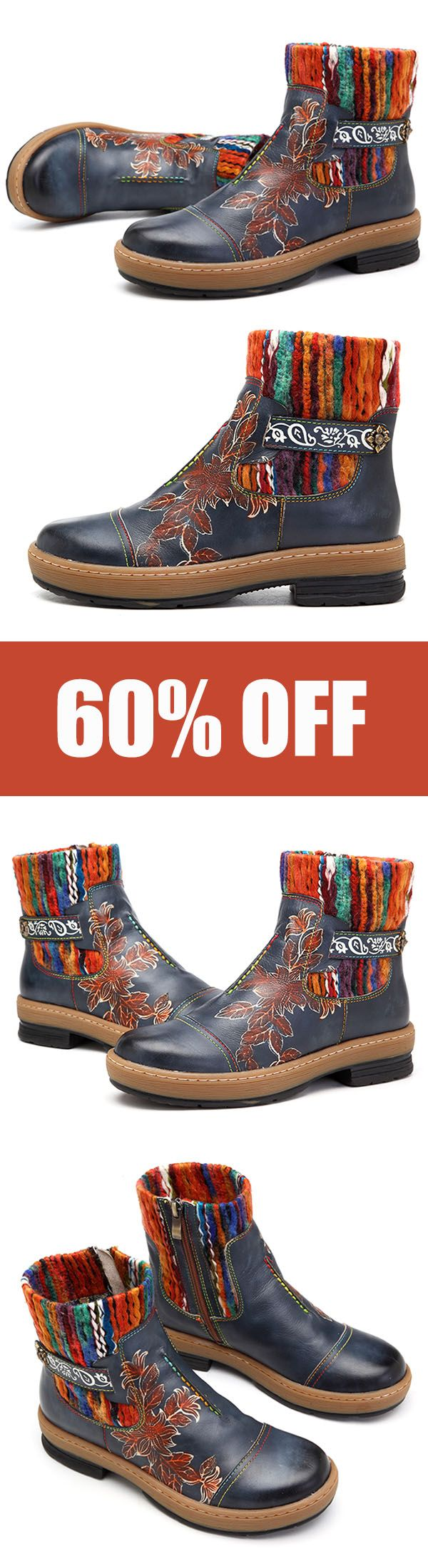 SOCOFY Bohemian Color Match Pattern Ankle Flat Leather Boots. #shoes #boots