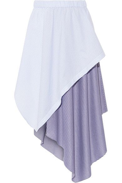 Opening Ceremony - Cody Wrap-effect Striped Jersey And Poplin Skirt - Sky blue - medium
