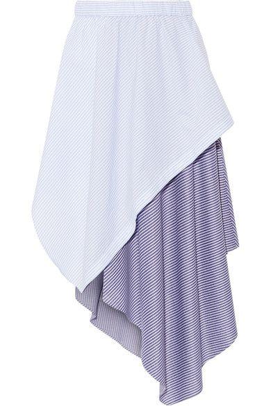 Opening Ceremony - Cody Wrap-effect Striped Jersey And Poplin Skirt - Sky blue - medium
