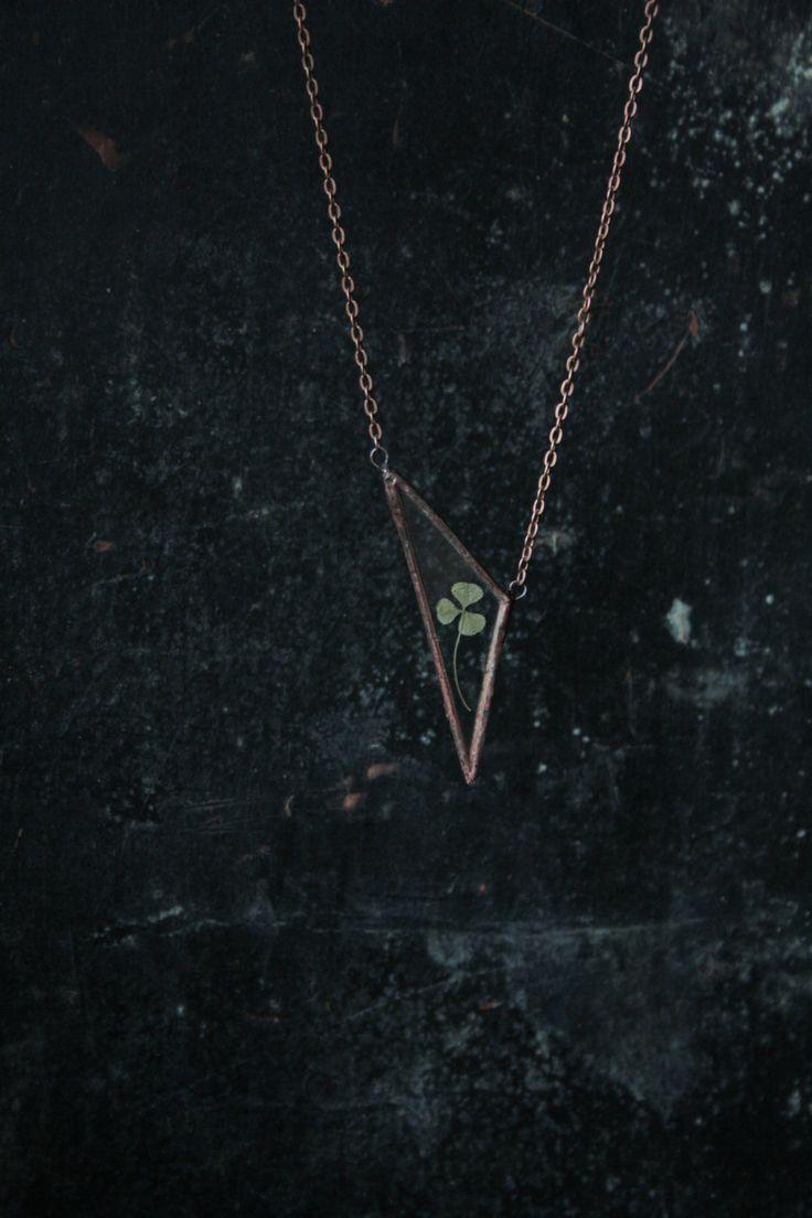 Triangle herbarium glass pendant. Stained glass от anitanda