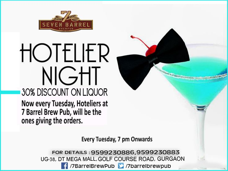 It's time to take off your uniforms, name tags and head down to 7 Barrel Brew Pub for the most happening Hotelier night in Town! #hoteliersnight #7barrelbrewpub