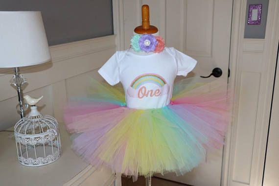 Rainbow tutu set -- top and tutu set in pastel colours with flower headband