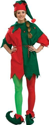 4 Piece Elf Costume Set Includes: felt tunic, hat, shoes, and cord belt One size, fits up to 38-inch chest and 30-inch waist Does not include: Green and red tights