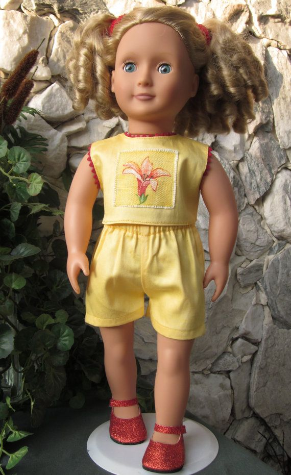 Yellow cotton shorts and a sleeveless top with by TinaDollDesigns. www.etsy.com/listing/187090042