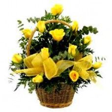 Rays of Love, Yellow roses basket, yellow flowers.