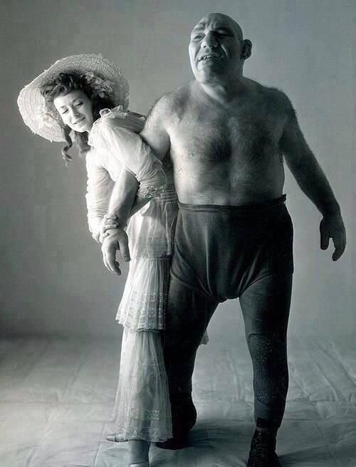 Maurice Tillet, a wrestler suffering from acromegaly. He died in 1954 & was the inspiration for the character Shrek.