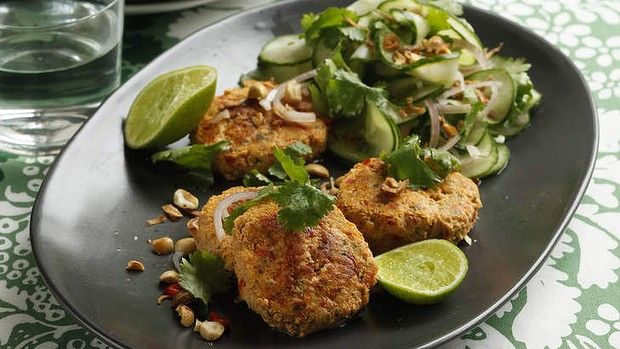 Thai fishcakes with cucumber salad.