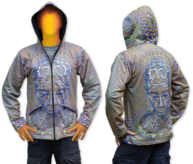 Sublime Hooded Jacket : Micro Macro Printed using sublimation printing on a high quality polyester fleece. This allows for extremely vibrant colors that will never fade away and results in an extremely soft 'feel' to the jacket, providing ultimate comfort. Fully lined with black fabric. 2 outside zip pockets and 2 inside zip pockets. Secret stash pocket label ! Not printed with UV inks, but printed on UV active fabric, so there is some effect under the blacklight. Artwork byLuminokaya