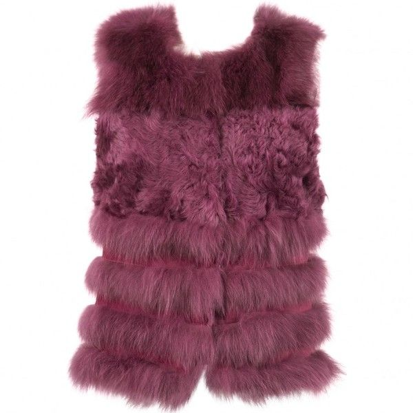 Pre-owned Jocelyn Fox Short Vest ($400) ❤ liked on Polyvore featuring outerwear, vests, purple, fox vest, short vest, purple waistcoat, vest waistcoat and purple vest