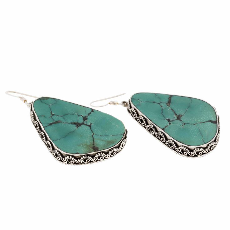 Earring-Tibetan Turquoise and Sterling Silver
