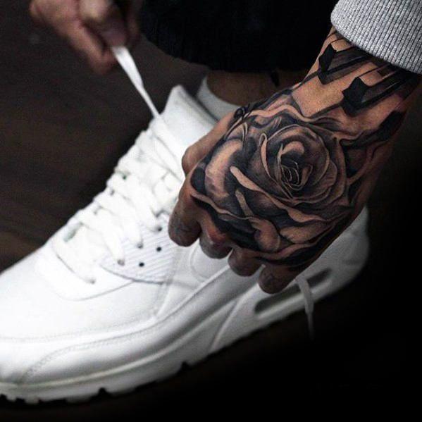 Bilderesultat for rose hand tattoo