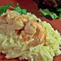 Smoky Grilled Shrimp And Cheesy Orzo: a very quick and tasty dish to prep and make as the seasoned shrimp is  broiled or grilled  and served on top of this rich, cheesy, creamy pasta dish. The smokiness of the seasoning compliments the sweetness of the shrimp.The orzo cooks in next to no time. I didn't have smoked salt to hand, so used smoked paprika and we really loved it. Would make again, especially as grilling season is almost here, 10/10 RUTH YEAMAN.