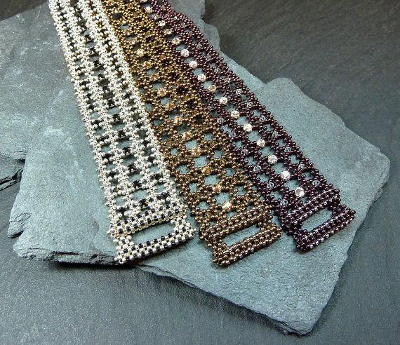RAWmantic Lace beaded bracelet/ PDF file by mariposa8000