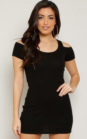 Cold Shoulder Rib Knit Mini Dress