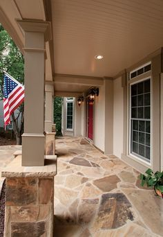 stone front porch - Avon--love the color of the floor---too bad with have gray flagstone walk.