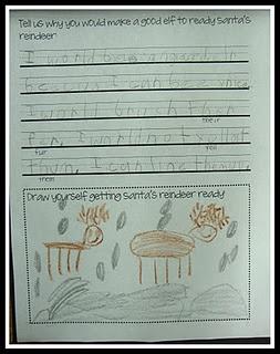 Writing project for Jan Brett's book Wild Christmas Reindeer.
