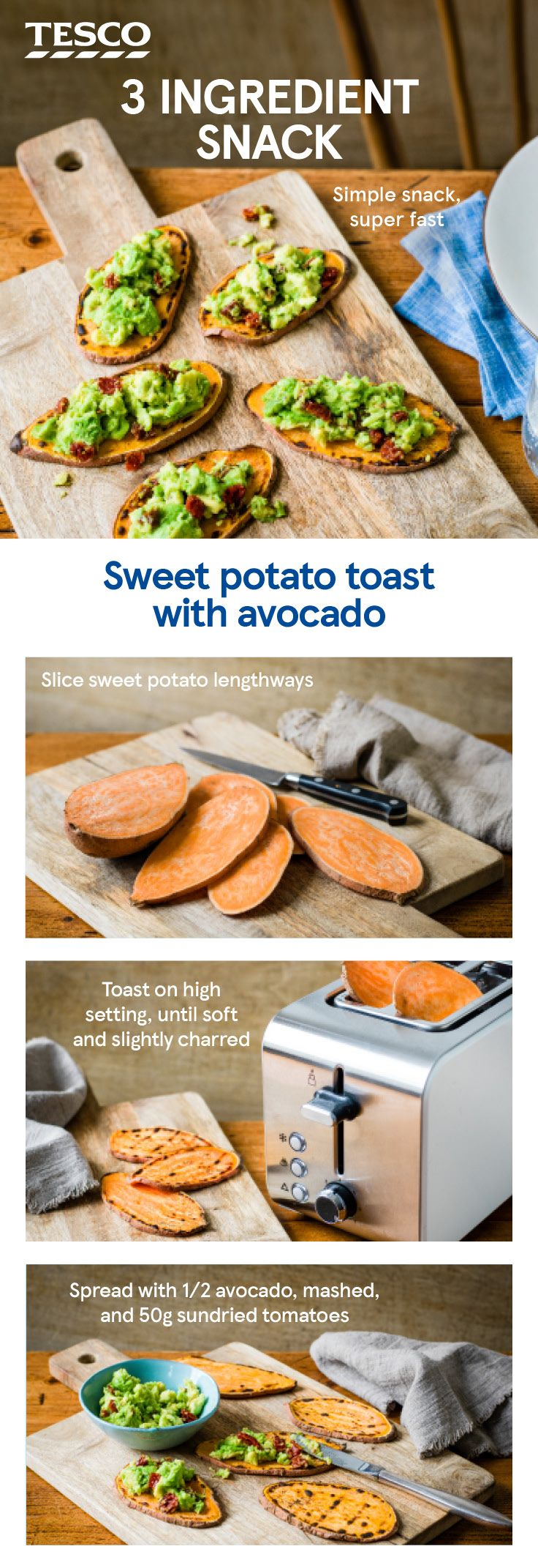 Ever wondered how to make sweet potato toast? With just 3 ingredients and 3 steps, this quick and easy sweet potato recipe makes a healthy brunch with an avocado and sundried tomato topping. | Tesco