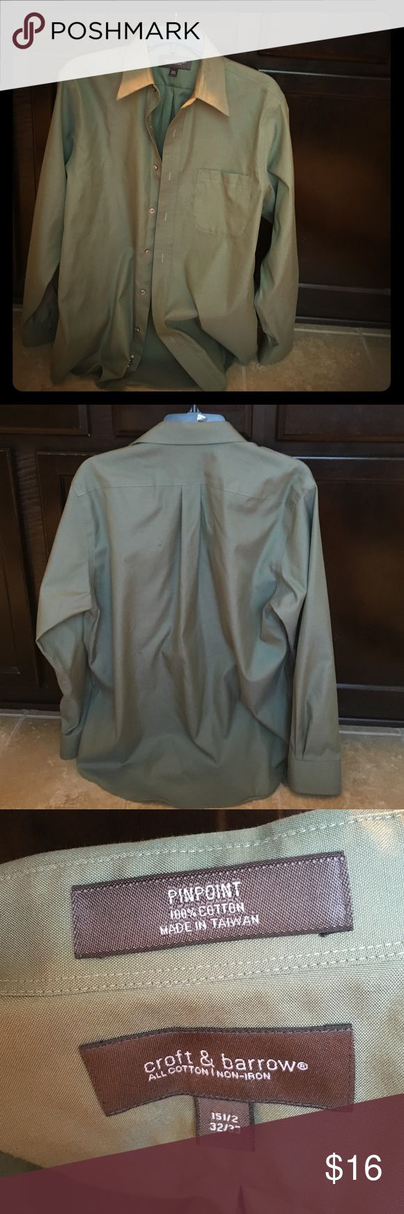 Men's Hunter Green Croft and Barrow dress shirt. Men's hunter green dress shirt from Croft and Barrow 15/half neck, 32-33 sleeves croft & barrow Shirts Dress Shirts