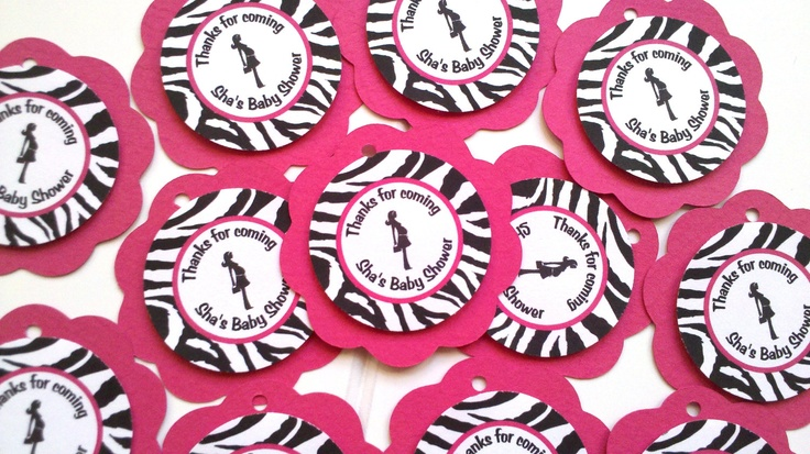 Baby Shower Thank You Tags - Pregnant Mom Theme Baby Shower Decorations in Hot Pink & Zebra. $7.00, via Etsy.